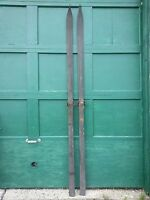 """VINTAGE Wooden Skis 94"""" Wood Skiis GREAT POINTS at Top Tips with Original Finish"""
