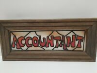 Accountant Faux Stained Glass Wood Frame Mid Century Retro Wall Hanging 14x6x1
