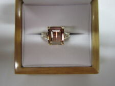 GORGEOUS ESTATE 14 KT GOLD 3.65 CTW. BI COLOR TOURMALINE & DIAMOND RING !!!!!
