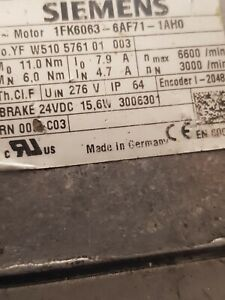 1x Siemens Servomotor 1FK6063-6AF71-1AH0