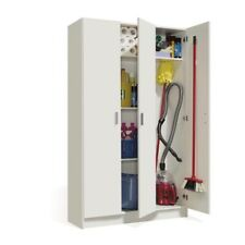 Armadio portascope 3 ante bianco arredo casa bagno garage scopa 109x37x180cm