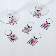 Set of 6 Bachelorette Party Wine Charms Bridal Shower Wedding Decorations