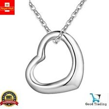"""925 Sterling Silver Floating Heart Pendant Necklace on 18"""" Curb Chain Love Gift"""