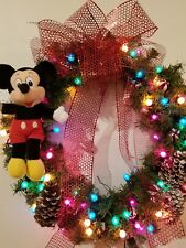 """Christmas Holiday Wreath  22"""" Decoration Micky Mouse Disney Colored Lights Bow"""