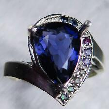 2.15cts Natural Purple Blue Iolite 925 silver 9ct 14k 18k Gold Platinum ring