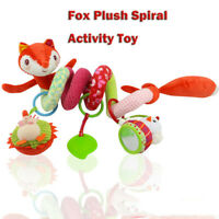 Soft Stroller Car Seat Toy With Rattle Mirror Fox Plush Spiral Activity Toys