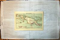 Antique Old Print New Guinea Map Dutch Territory Kaiser Willhelm'S Land 1887