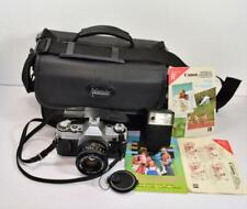 Canon AE-1 35mm SLR Film Camera w 50 mm 1:1.8 lens,strap,bag,Canon flash Japan