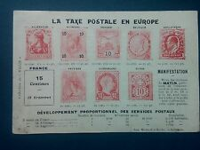J177.  CPA . CARTE PÉTITION. TAXE POSTALE EN EUROPE