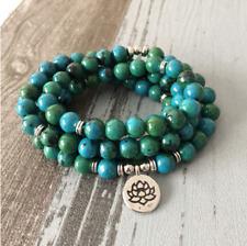 Green Chrysocolla Beaded Bracelet Wrap, Mala Beads Necklace Yoga Gemstone Buddha