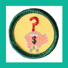 MONEY SENSE Girl Scout 2001 Jr. Jade BADGE Piggy Bank NEW Patch Multi-1 Ship Chr