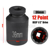 1/2'' Drive 36mm Ball Joint Duty Deep Impact Socket 12 Point Bi Hex Spindle