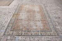 Turkish Rug 81''x137'' Vintage Muted Color Oushak Pile Carpet 208x317cm 6x10 Rug