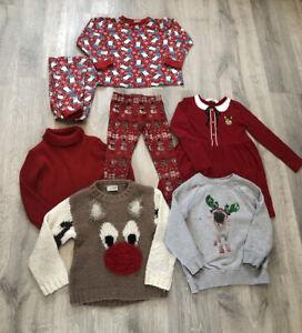 Girls Christmas Clothing Bundle Age 5-6  Jumpers, Leggings, Dress, Pyjamas