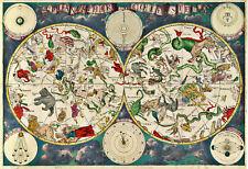 Frederik de Wit 1680 Zodiac Chart Celestial Map Astrological Art Print Poster