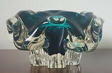 More details for chribska large vintage teal blue/clear czech art glass ashtray.