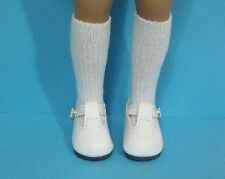 "WHITE T-Strap Doll Shoes For Dianna Effner 13"" Little Darling (Debs)"