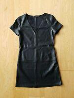 Zara Women's Dress Shift Short Sleeve Black Faux Leather V Neck Size XS