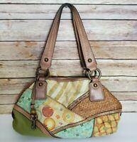 FOSSIL Canvas Boho Hobo Floral Multicolor Medium Shoulder Handbag Purse