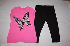 ba22918c05c49b Girls PINK TEE SHIRT Gray Silver Glitter BUTTERFLY Black Capri Leggings XL  14 16