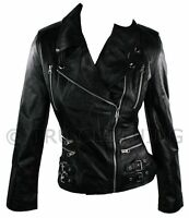 100% Ladies Real Leather Jacket Short Fitted Bikers Style Retro Black Rock