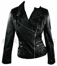 100 Ladies Real Leather Jacket Short Fitted Bikers Style Retro Black Rock