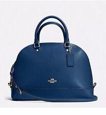 Coach Crossgrain Leather Sierra Satchel Handbag Purse Marrina Blue NWT F57524