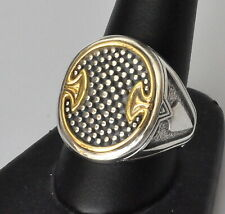 Konstantino Men's Oval Spear Ring Sz 12 Sterling Silver 18K Gold  Achilles New