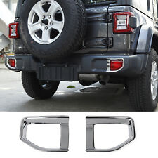 Fit For 2018 Jeep Wrangler JL ABS Chrome Exterior Rear Fog Lamp Cover Trim 2PCS