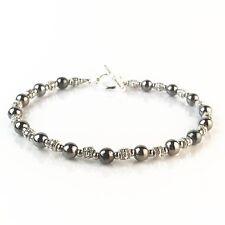Bracelet homme Perles Acier Hématite Tibet  - Bijoux Pochette cadeau -
