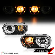 2008-2014 Dodge Challenger [SRT STYLE] Black Projector D1S Xenon Headlights Lamp