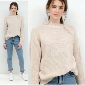 Womens Ladies Stone Beige High Neck Knitted Long Sleeve Jumper Knit Top UK 8-16