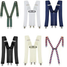 Mens Braces Clip On Spandex Adjustable Elastic X Shape Back Suspender 35mm