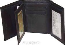 Men's wallet, Trifold Leather wallet.2 Billfolds, Black 9 Card wallet New in box