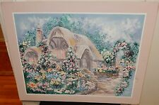 MARINA LARGE OIL ON CANVAS FLORAL GARDEN LANDSCAPE PAINTING