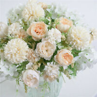7-Head Artifical Flower Silk Peony Wedding Bride Bouquet Champagne White
