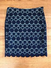 New Vince Camuto Seafoam navy crochet pencil skirt 8