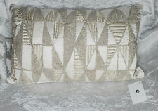 """Hotel Collection  Gilded Geo 14"""" x 22"""" Decorative Pillow Beaded Embroidered"""