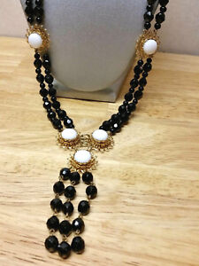 Castlecliff Vintage French Jet? Black glass crystal necklace double strand 26 in