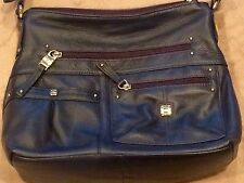 Stone Mountain NAVY Pebbled Leather Shoulder Bag, Purse, ZIPPERS, Long Strap
