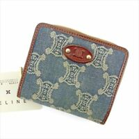 Celine Wallet Purse Bifold Navy Brown Woman unisex Authentic Used T5763
