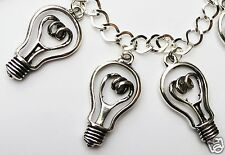 BRIGHT IDEAS LIGHT BULB STEAM PUNK SILVER TONE HANDMADE BRACELET 19 -21 cm