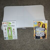 Nintendo Wii Fit Balance Board Wii Fit Plus + The Biggest Loser Game Bundle Lot