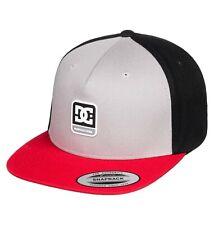 DC SHOES MENS BASEBALL CAP.SNAPDRAGGER FLAT PEAK ADJUSTABLE GREY RED HAT 9W 53SE