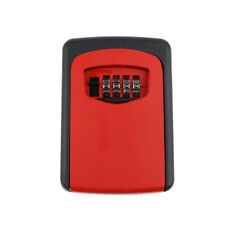 Key Storage Lock Box 4-Digit Combination Wall Mounted Resettable Code Red