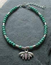 Turquoise Beads Honeybee Bee Charm Anklet Ankle Bracelet Boho Surf Festival