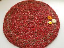 Vintage. Shabby. Handmade. Crocheted rug. Oval 20x21. Red w Green folk art.