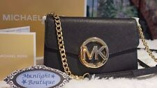 NWT Michael Kors HUDSON MK LOGO LG Phone Case Crossbody Wallet BLACK/GOLD $198