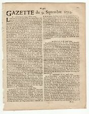 1724, sept.9, Original French Gazette with news from various locations
