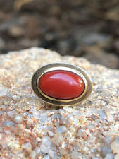 Antique 18k Yellow Gold Mediterranean Red Coral Bead Hat Tie Tack Lapel Pin